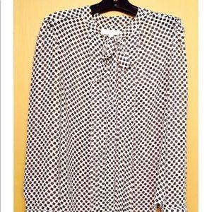 Loft neck tie blouse